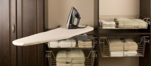 ironing board, iron, ironer, towels, wire drawers