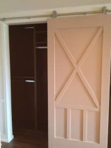 Hanging doors, closet, Built in closet, Custom built ins, Barn door, sliding door