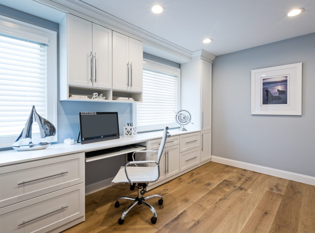 Home Office design, White shaker, white built ins, blue walls, custom home office