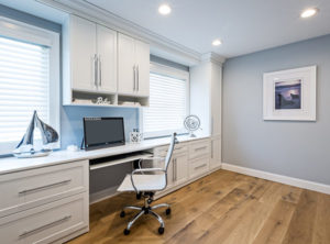 Home office design, bkue walls, custom built ins, custom cabinets. white cabinets, white shaker, home office