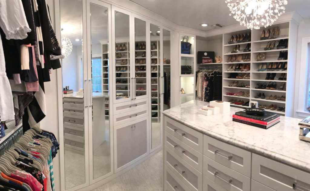 Walk in matser closet, custom built in island, floor to ceiling mirror, custom closet