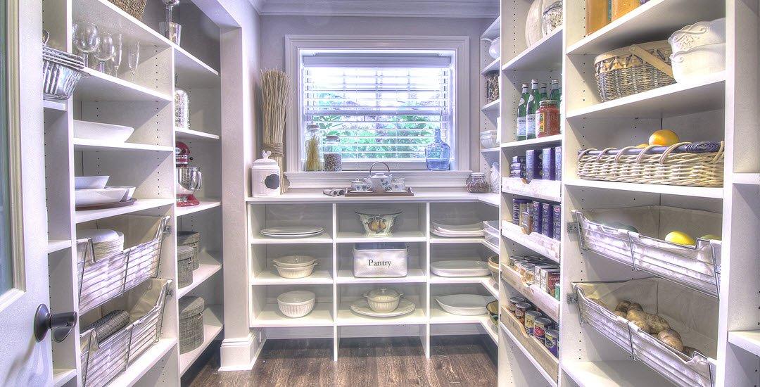 Symmetry Closets pantry, Pantry built-ins, pantry closet, pantry organization, white pantry, ceramic chicken, food storage, teapot, teapot set