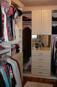 master closet, closet ideas, white shaker, white cabinets, organized storgae, master walk in closet