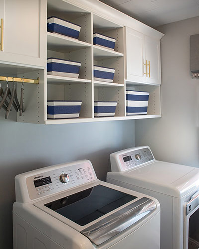 Custom Laundry Room, Washer, Dryer, Custom Storage, Symmetry Closets, George to the Rescue, NBC