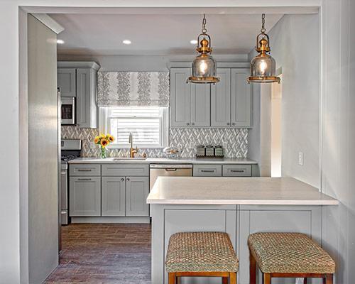Custom Kitchen Storage, Grey Cabinets, Sunflowers, Bar Stool, Dishwasher, Kitchen