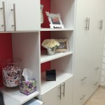 custom wall unit, custom chelves, custom home office, white cabinets