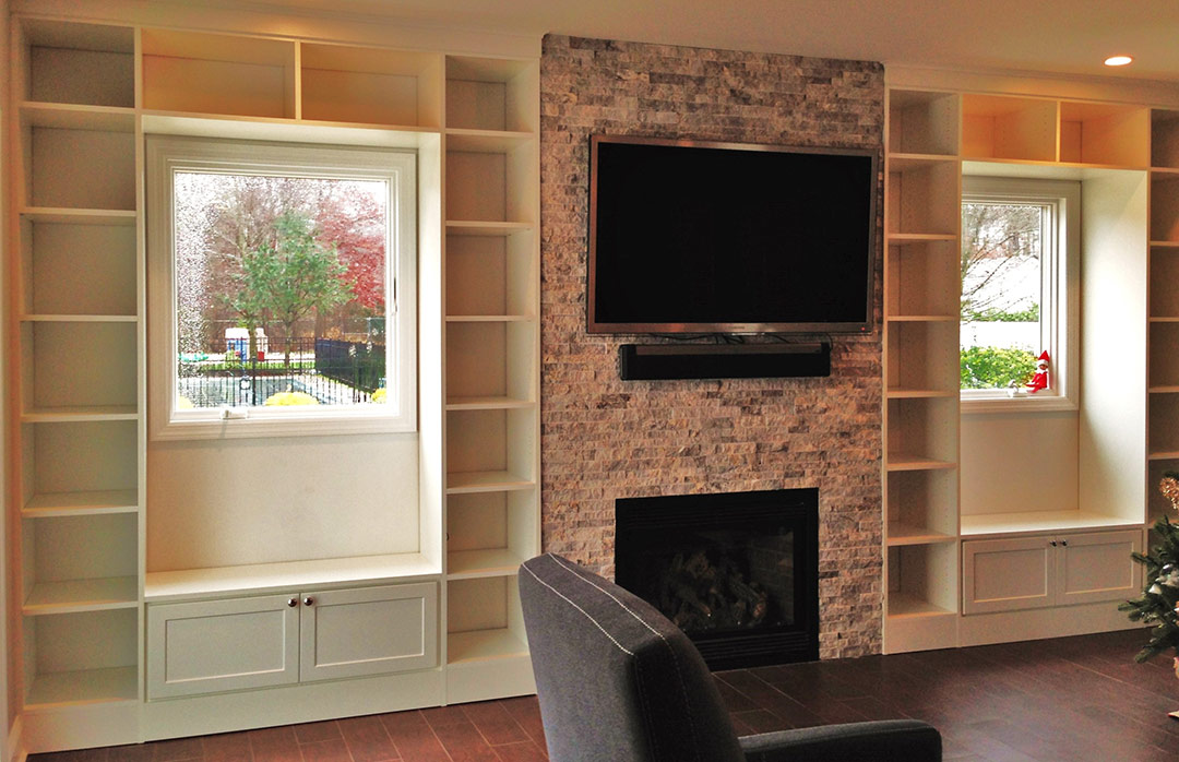 Custom built in, custom wall unit, custom entertainment center