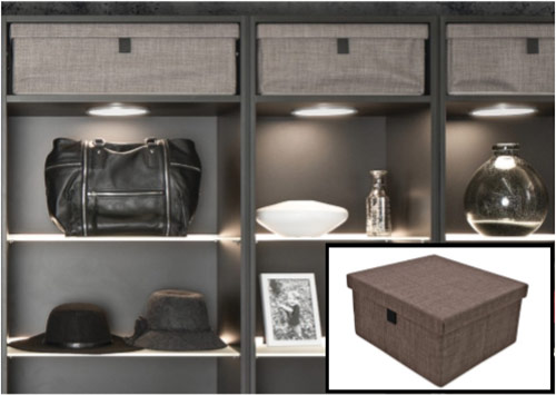 storage box, storage boxes, organized closets, custom lighting, custom built ins