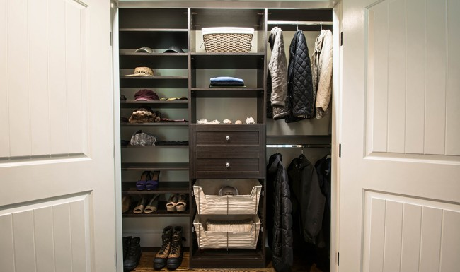 Reach in Closet, Brown Cabinets, Closet Storage, Custom shelving