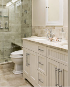 Bathroom storage, White bathroom, granite counter top, custom bathroom design