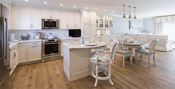 Kitche, Kitchen design, wendy interiors, white kitchen, open floor plan, custom design, white cabinets, kitchen island, bar stool