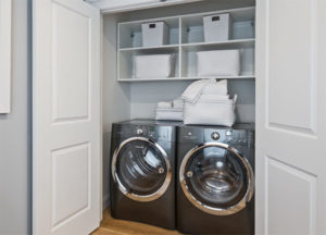 laundry area, laundry storage, storage options, custom storage, washer, dryer, shelving