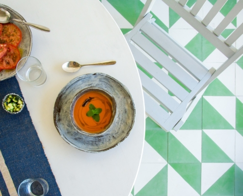 Summertime Gazpacho, outside dining, tapas