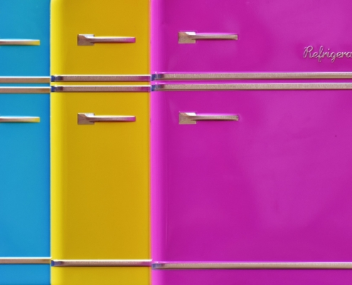 refrigerators colorful, magenta, yellow and blue