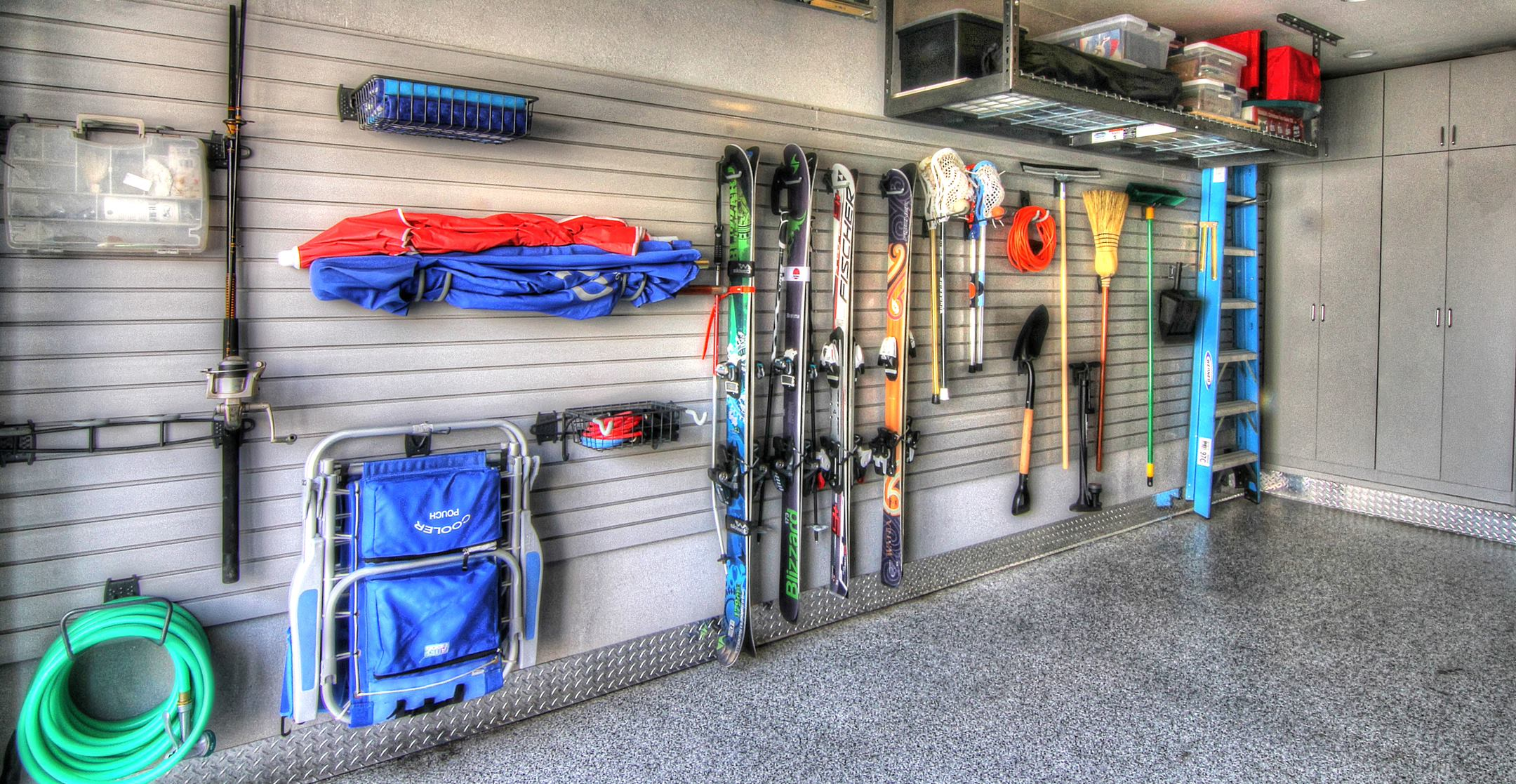 Garage Sports, Beach, Cabinets, Overhead Storage, epoxy floor