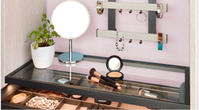 Symmetry Closets: Illuminated Glass Shelf
